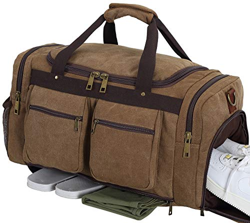 - Weekender Overnight Duffel Bag Shoe Pocket for Women Men Weekend Travel Tote Carry On Bag (coffee-33)