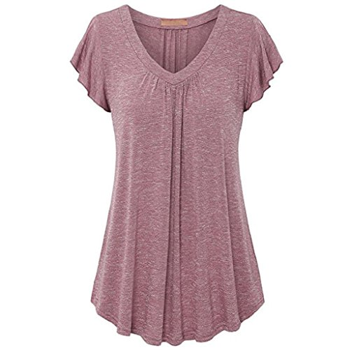 Casual Taille Tee Manches Courtes Cou Rose Blouse Shirts Chemisier Femme Chemisier Trydoit Tunique Summer V Grande Plisse Top Chic 6BIanwqp