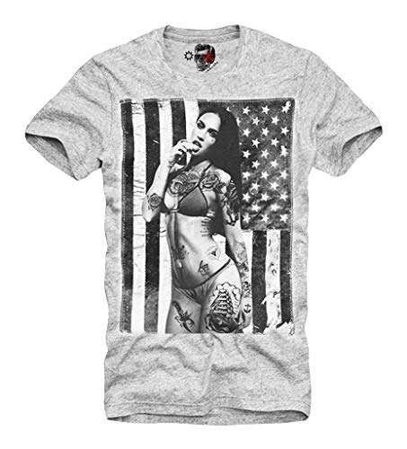 E1SYNDICATE T-SHIRT MEGAN FOX TATTOO VINTAGE USA FLAG LAST KINGS GREY S/M/L/XL