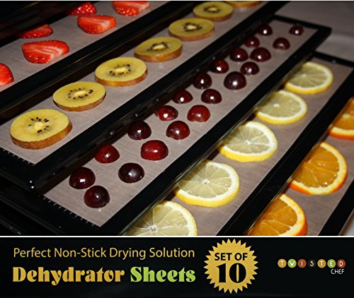 Food Dehydrator Sheets By Twisted Chef, Set of 10 Non Stick Teflon PTFE Drying Liners For Excalibur, BPA-Free,