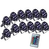 Up-Lighting System - 12 FlatPar Quad Color 7 x 10 watt RGBW Up Lights w/Easy Remote Control