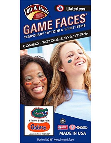 (University of Florida (UF) Gators – Waterless Peel & Stick Temporary Tattoos – 12-Piece Combo)