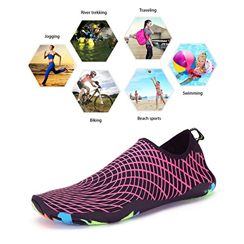 Bigcount Männer Frauen Wasser Aqua Schuhe Quick Dry Barfuß Haut Sock Schuhe mit Drainage Löcher für Beach Swim Surf Gym Rose