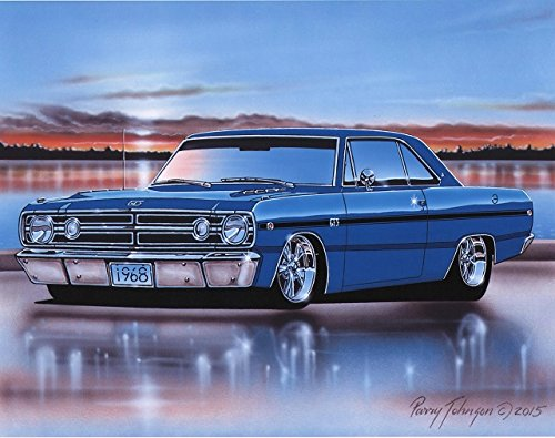 1968 Dodge Dart GTS Muscle Car Art Print Blue 11x14 Poster