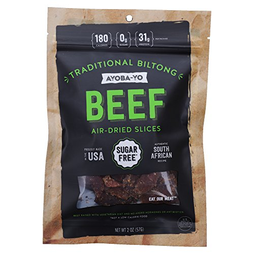 Ayoba-Yo Biltong. Grass Fed and Air Dried Beef Snack. Better than Jerky. Tender Steak Cuts Made with Premium Meat. Sugar & Gluten Free. 2 Ounce
