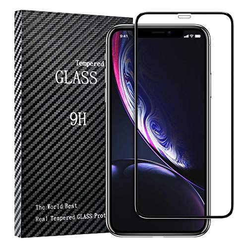 iPhone XR Screen Protector,[Solid Series] FLOVEME Premium HD Clear Edge Coverage Full Protection 0.33mm Anti Scratch Tempered Glass Screen Protector Compatible with Most iPhone XR Case