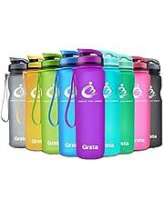 Grsta Botella del Agua Deporte 600ml/800ml/1000ml/1200ml Tritan Sin BPA & Eco-Friendly Reutilizable de Plastico con Filtro para Niños, Deportes, Yoga, Senderismo, Viajes, Oficina