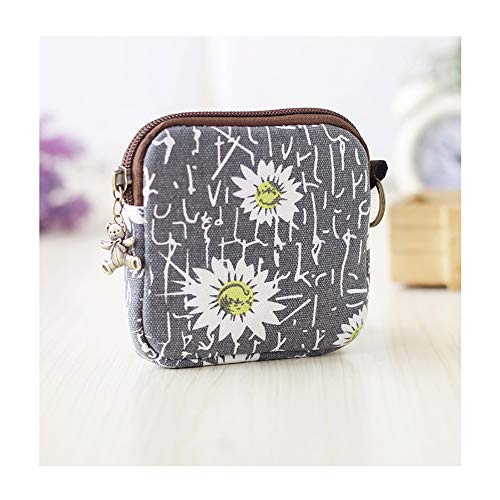 Cute Youth Korean Japanese Style Canvas Novelty Square Wallet Coin Purse Credit Card Photo Bill Key Holder (#SD7923) (Grey Chrysanthemum Pattern)
