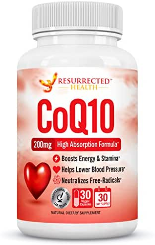 CoQ10 200mg Capsules - High Absorption CoQ10 Ubiquinone Supplement - Promotes Energy & Healthy Blood Pressure - Supports Heart Function & Cardiovascular Health - Vegan Co-Enzyme Q-10 Tablets