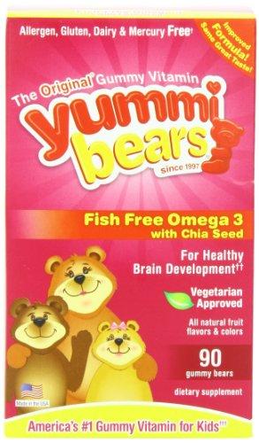 Yummi Bears Poissons Gratuit Omega 3 avec Chia Seed, 90-Count Gummy Bears pour les enfants