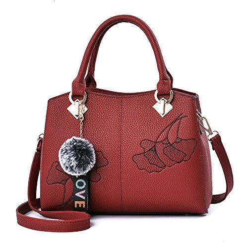 (JVPS 16-G) 2018 Nuevo bolso del bolso del bolso de la PU bolso de la manera bolso europeo y americano los 5 colores Vino Tinto