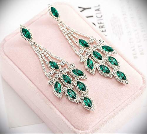 Green Emerald Silver Long Crystal Pageant Dangle Earrings Jewelry Necklace Set