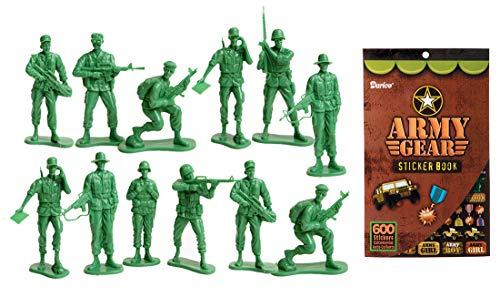 LightShine Products 12 Piece Large Green Plastic Army Men Toy Soldier Action Figures & 1 Army Gear Sticker Book -