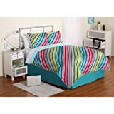 Dovedote 6 Piece Rainbow Reversible Neon Colors Microfiber Bedding Comforter and Sheet Set for Teenager Girls, TWIN
