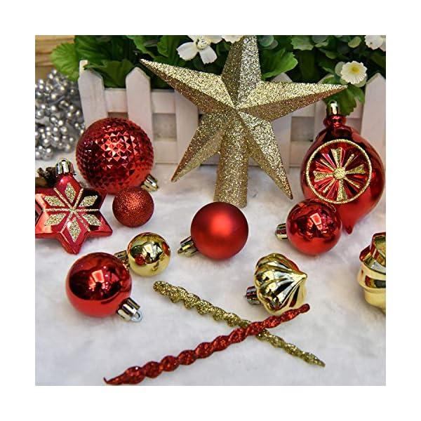YILEEY Decorazioni Albero di Natale Palline di Plastica Oro e Rosso 68 Pezzi in 14 Tipi, Scatola di Palline di Natale Infrangibili con Gancio, Ornamenti Decorativi Ciondoli Regali 5 spesavip