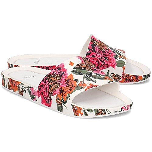 Melissa Womens Beach Slide 3D Floral Plastic Slip Onwhite Size 5