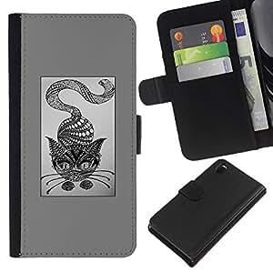 KLONGSHOP // Tirón de la caja Cartera de cuero con ranuras para tarjetas - gato lápiz abstracto gris arte dibujo - Sony Xperia Z3 D6603 //
