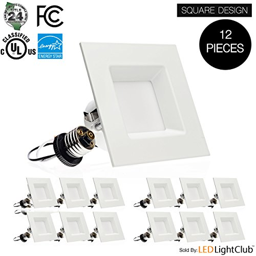 (12 Pack)- 4-inch LED Square Downlight Trim, 10W (60W Replacement), Square Recessed Light, Dimmable, 3000K (Soft White), 630LM, ENERGY STAR & UL, Retrofit LED Recessed Lighting Fixture by Parmida LED Technologies