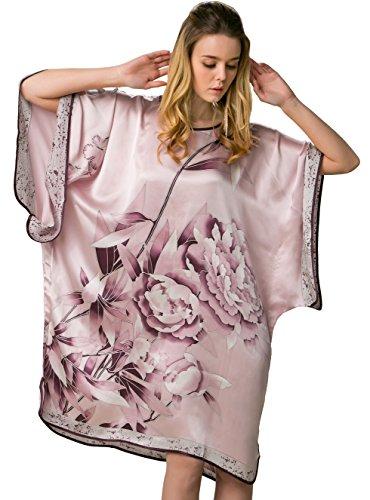 100% Pure Silk Nightgown Batwing Sleeved Classic Sleepwear