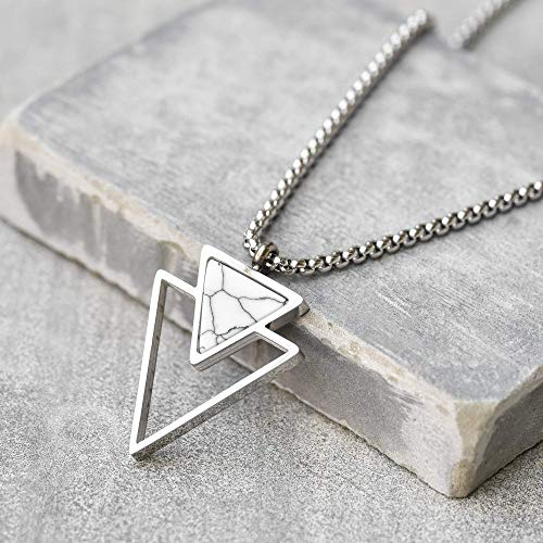 Handmade Long Stainless Steel Necklace For Men Set With Triangle Pendant By Galis Jewelry - Geometric Necklace For Men - Silver Necklace For Men - Jewelry For Men