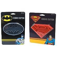 DC Comics Batman + Superman Cookie Cutters Bundle Set, Cookie Stamp by DC Comics