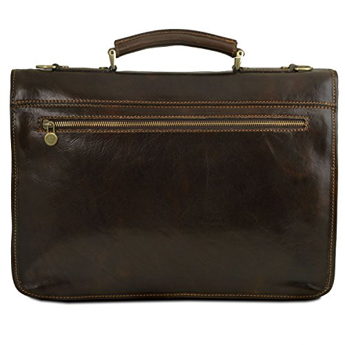 Brown Dark Leather Tuscany Brown 2 Firenze Leather briefcase compartments Dark q0r8Uvq