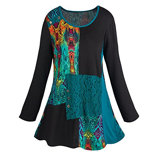 Women's Abstract Art Long Sleeve Tunic Top - 3X