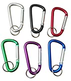 3 Inch Aluminum D Shaped Carabiners 6 Pack (Multi Color)