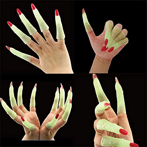 10xFake Fingers Witch Nail Set Cover Halloween Prop