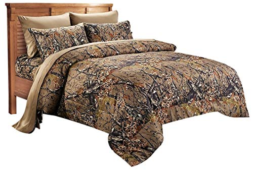 - 20 Lakes Woodland Hunter Camo Comforter, Sheet, Pillowcase Set (Queen, Forest)