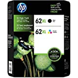 Genuine HP 62XL Black and Color Inkjet Cartridges in Retail Combo Pack