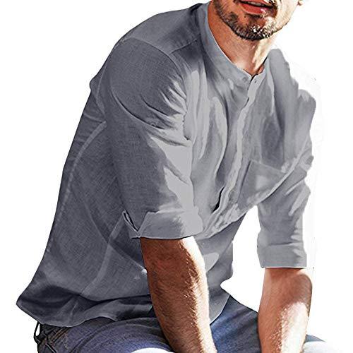 Grande Top Slim Longues Blouse Gris Soirée Chemises shirt Pour Cocktail Manches Repassage Taille Chemise Winjin Homme Imprimé Sans T Haut Business Shirt Fit F70wO