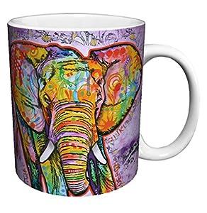 Dean Russo Elephant Modern Animal Art Porcelain Gift Coffee (Tea, Cocoa) Mug