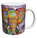 Dean Russo Elephant Modern Animal Art Porcelain Gift Coffee (Tea, Cocoa) Mug, 11 Ounce