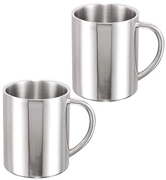 COM-FOUR® 2 tazas de café de acero inoxidable, taza de café de 260 ml cada una, cafetera. (02 piezas - copa color plata)