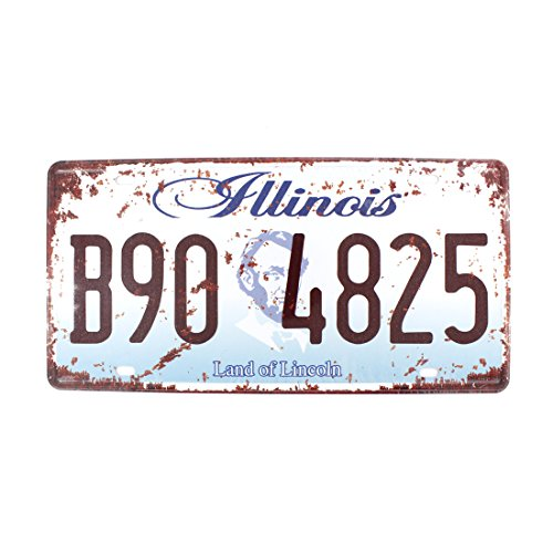 6x12 Inches Vintage Feel Rustic Home,bathroom and Bar Wall Decor Car Vehicle License Plate Souvenir Metal Tin Sign Plaque (Illinois Land of Lincoln)
