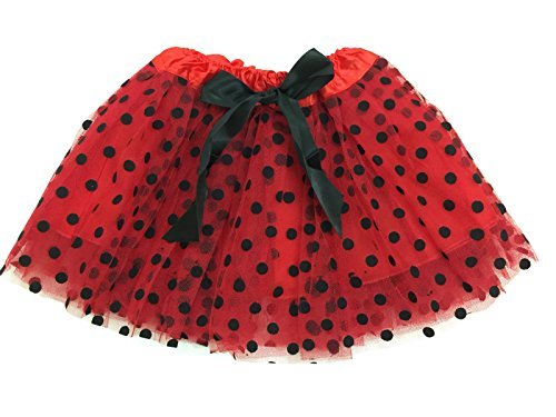 Rush Dance Ballerina Girls Dress-Up Princess Fairy Polka Dots & Ribbon Tutu (Kids (3-6 Years Old), Red & Black (Lady Bug))