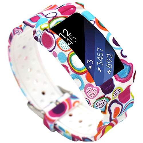 EL-move Samsung Gear Fit 2 SM-R360 Band, Silicone Replacement Frame Rugged Protective Case Wristband Sport Bands for amsung Gear Fit2 & Fit2 Pro Tracker Smart Watch Accessories Strap (Water Circle)