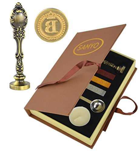 Samyo Creative Romantic Stamp Maker Classic Old-Fashioned Style Brass Color Wax Seal Sealing Stamp Vintage Antique Alphabet Initial Letter Set - (Letter B)