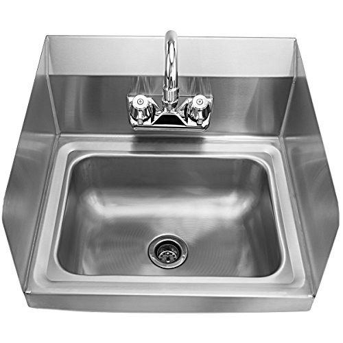 Giantex Stainless Steel Hand Washing Sink with Wall Mount Faucet & Side Splashes NSF Commercial Kitchen Heavy Duty Hot & Cold Temperature Water Inlet Washing Basin, Silver by Giantex (Image #2)