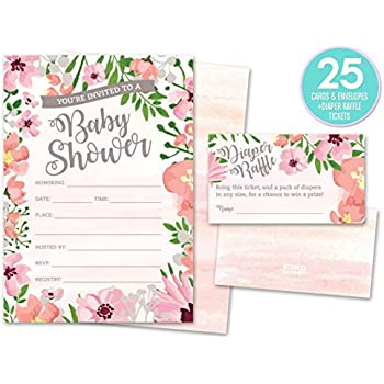 Baby Shower Invitations and Diaper Raffle Tickets. Set of 25 Pink Floral Fill In The Blank Style Cards, Envelopes, and Raffle Tickets.