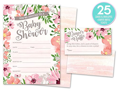 Baby Shower Invitations and Diaper Raffle Tickets. Set of 25 Pink Floral Fill In The Blank Style Cards, Envelopes, and Raffle (Baby Shower Invitations Greetings)