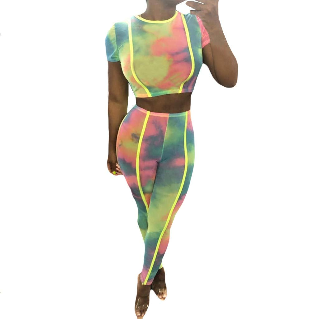 Women Bodycon 2 Piece Outfit Color Block Crop Top and Yoga Pants Set Casual Two Piece Bodycon Pants Set