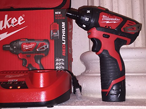 MILWAUKEE ELECTRIC TOOL 2401-22 M12 Cordless 12V Lithium-Ion Screwdriver with Two Batteries, Charger and Case, 1 x 1 x 1