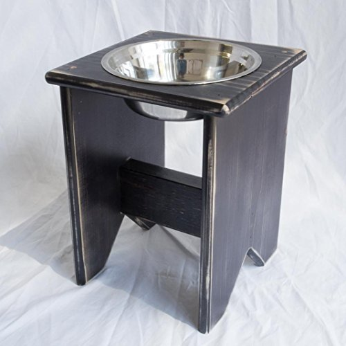 Elevated Dog Bowl Stand - Wooden - 1 Bowl - 300 mm / 12'' Tall - Raised Dog Bowl by Fabian Woodworks
