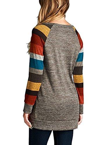 Kinikiss Damen Langarmshirt Elegantes Casual Dünnes Gestreift Rundhals Bluse Shirt, Grau/Bunt ( XXX-Large=EU46/48 )