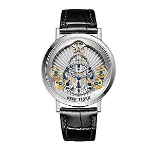 Reef Tiger Designer Skeleton Watches for Men Gear Wheel Quartz Watches RGA1958