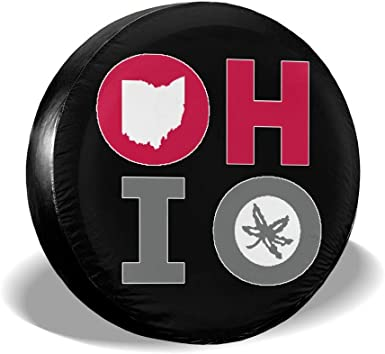 BlirhTD Ohio State O-H Oh Spare Tire Cover Universal Wheel Covers for RV SUV Truck Camper Accessories 14,15,16,17 Inch