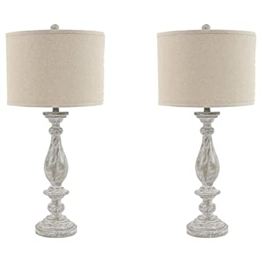 Ashley Furniture Signature Design - Bernadate Table Lamp - Vintage Style - Whitewash