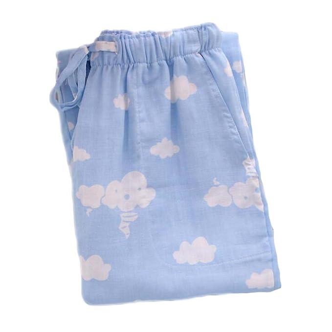 [Blue Cloud] Mujeres de Algodón de Dormir Pijamas Sueltos Pantalones Pijama de Fondo